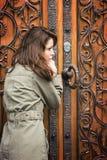 Retro vrouwendeur royalty-vrije stock afbeelding