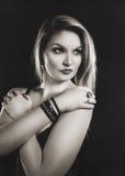 Retro vrouwensepia portret Royalty-vrije Stock Foto's