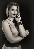 Retro vrouwensepia portret Royalty-vrije Stock Afbeeldingen
