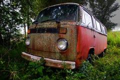 Retro VW Volkswagon Bus Car. Retro or vintage VW or Volkswagon micro mini van bus. Old transportation vehicle from another era Stock Photo