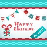 Retro vykort för lycklig födelsedag med den texturerade pricken Royaltyfria Bilder