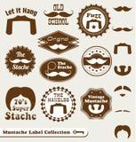 Retro wąsy etykietki, majchery i Zdjęcie Stock
