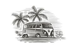 Retro wagen dichtbij overzees en palmen zwart-wit illustratie Vector royalty-vrije stock foto