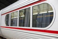 Retro wagon train in a railway station Royalty Free Stock Image