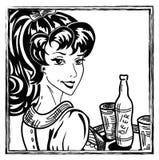 Retro waitress. Retro pin-up waitress at work portrait Stock Photo