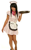 Retro waitress with tray. Picture of the retro waitress holding tray Stock Photos