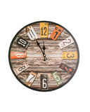 Retro wall clock isolated Stock Photo
