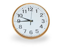 Retro wall clock over white Royalty Free Stock Image