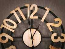 Retro Wall Clock with Wooden Numbers Stock Image