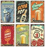 Retro wall decor with juices and drinks set. Vintage tin signs collection with organic fruit products. Vector juice signs in vintage style with typography Stock Photos