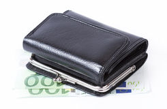 Retro wallet over euro money Stock Images