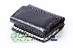 Retro wallet over euro money stock images
