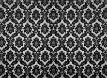 Retro wallpaper. Black vintage damask wallpaper pattern royalty free stock photo