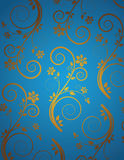 Retro wallpaper. Retro blue and golden wallpaper Vector Illustration