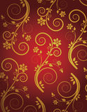 Retro wallpaper. Retro red and golden wallpaper Stock Illustration