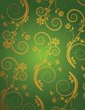 Retro wallpaper. Retro green and golden wallpaper Royalty Free Illustration