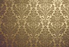 Retro wallpaper background. Gold floral design retro wallpaper Stock Image