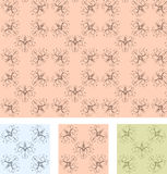 Retro wallpaper seamless pattern. With 3 different color samples, vector illustration Royalty Free Stock Photos