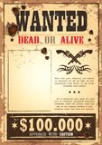 Retro wanted paper for wild west bounty stock illustration