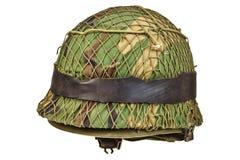 Retro war helmet isolated on white Stock Photos