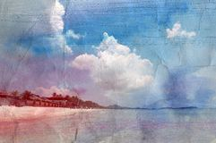 Retro watercolor beach tropical Royalty Free Stock Image