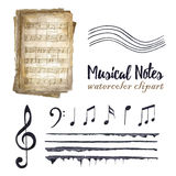 Retro watercolor musical notes set. royalty free illustration
