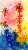 Retro watercolor palm Royalty Free Stock Photos