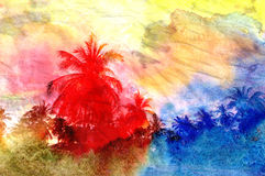Retro watercolor palm grove Royalty Free Stock Photography