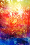 Retro watercolor palm grove Stock Photos