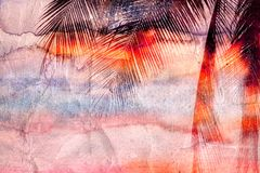 Retro watercolor palm leaves Stock Photography