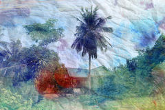 Retro watercolor palm trees and a house Royalty Free Stock Photos
