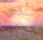 Retro watercolor sunset at sea Royalty Free Stock Images