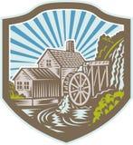 Retro Watermill hussköld Royaltyfri Bild