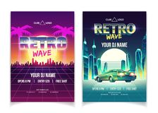 Retro wave music performance vector flyer template royalty free stock images