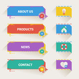 Retro Web Navigation Templates with Icons Stock Photo