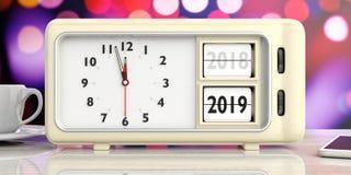 Retro- Weckerjahränderung von 2018 bis 2019, Mitternacht, auf festlichem, bokeh Hintergrund Abbildung 3D lizenzfreie abbildung