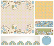 Retro wedding backgrounds. Retro wedding and bridal backgrounds floral and dots patterns Stock Photos