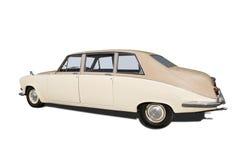 Retro Wedding Car. Isolated on white royalty free stock image