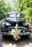 Retro wedding car. Juicy greens in the background. Retro wedding car, Juicy greens in the background Stock Photo