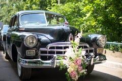 Retro wedding car. Juicy greens in the background Motorcade. Retro wedding car, Juicy greens in the background. Motorcade Royalty Free Stock Image