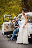 Retro wedding car Stock Photos