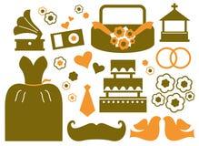 Retro wedding design elements Stock Image