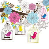 Retro Wedding Floral and Birdcage Royalty Free Stock Photo