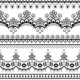 Retro wedding French or English lace seamless pattern set, black ornamental repetitive design with flowers - textile design stock photo