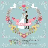 Retro wedding invitation.Bride, groom,floral Royalty Free Stock Image