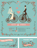 Retro wedding invitation.Bride,groom,retro bicycle. Retro wedding invitation with floral doodle decor,wreath , border. Cute cartoon couple groom and bride on vector illustration