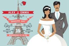 Retro Wedding invitation.Flat bride,groom,Eiffel Royalty Free Stock Photography