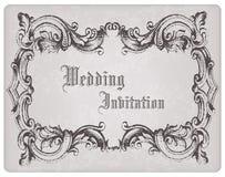 Retro Wedding Invitation postcard with frame Stock Image