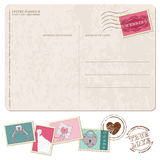 Retro Wedding Invitation postcard, with stamps Royalty Free Stock Photography