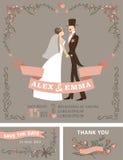 Retro wedding invitation set.Bride,groom,floral
